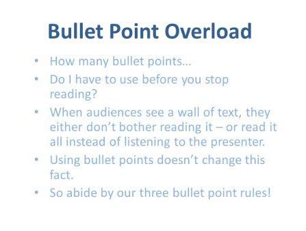 how do you use how to use bullet points in presentation slides