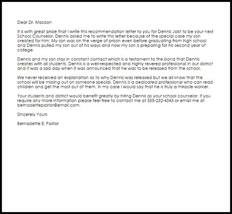 School Counselor Recommendation Letter   LiveCareer