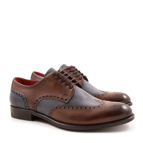 handmade s brogue shoes 2 tone italian leather
