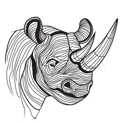 rhino rhinoceros animal head as symbol for mascot or