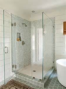 whitewash wood paneling blue gray shower tiles cottage bathroom lauren liess