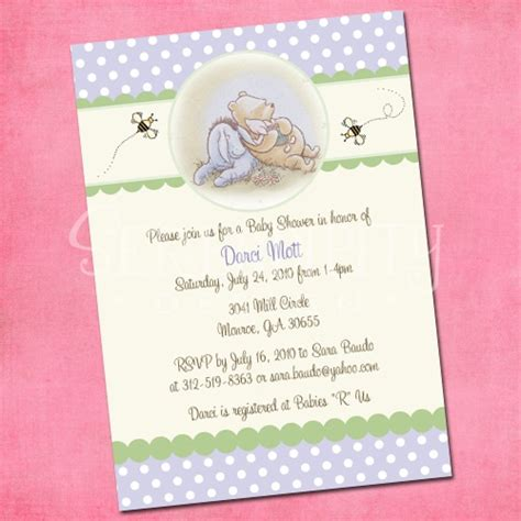 Classic Pooh Invitations Baby Shower by 17 Best Images About Winnie The Pooh Baby Shower