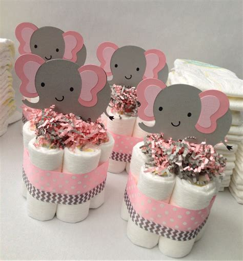 Baby Shower Table Decoration Ideas Four Pink Grey Elephant Mini Diaper Cakes Baby Shower