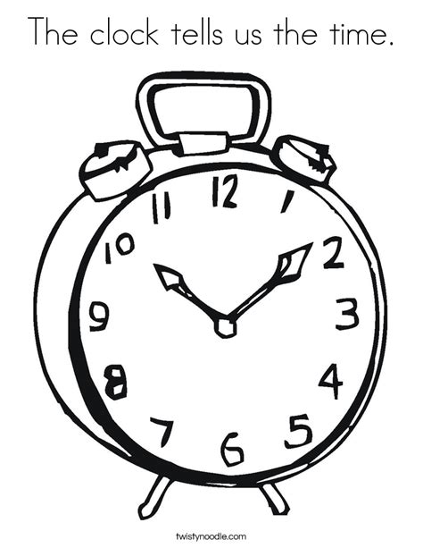 time coloring pages the clock tells us the time coloring page twisty noodle