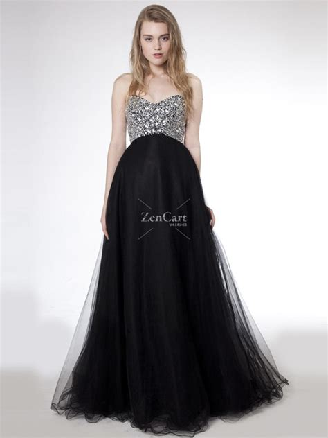 black floor beading cheap of strapless sweetheart sleeveless black tulle