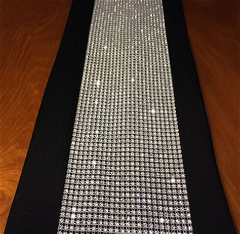 rhinestone table runner with individually set crystals