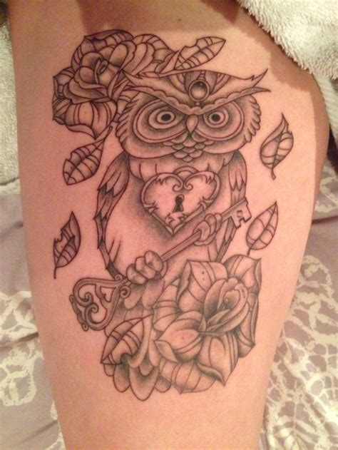 owl tattoo thigh owl tattoo on thigh love marlee s luvs pinterest