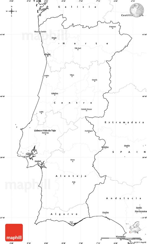 printable map portugal blank simple map of portugal