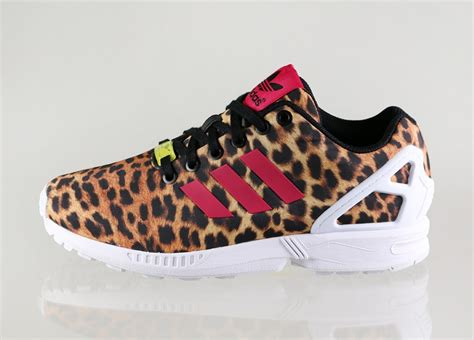 adidas zx flux  leopard black vivid bery ftw white