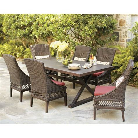 Patio Furniture Dining Sets Hton Bay Woodbury 7 Wicker Outdoor Patio Dining Set With Chili Cushion D9127 7pcr The