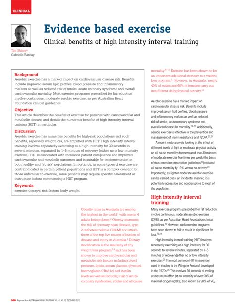 Pdf Evidence Based Exercise Clinical Benefits Of High