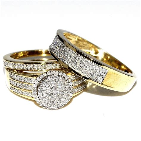 his and bridal rings set trio 0 73ct 10k yellow gold
