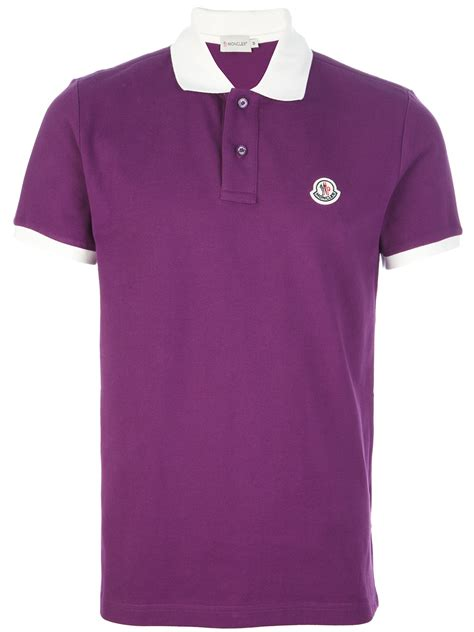 Contrast Collar Shirt moncler contrast collar polo shirt in purple for