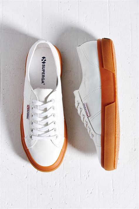 white sneakers gum sole lyst superga 2750 leather gumsole low top sneaker in white