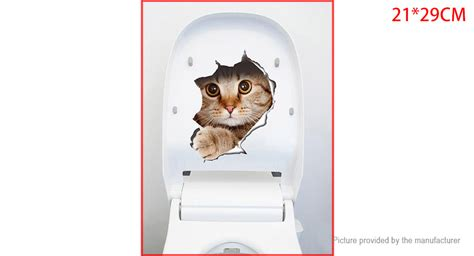 wall stiker kucing sangkar 1 69 3d cat wall styled wall toilet sticker home