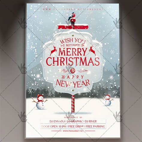 Happy Merry Christmas Winter Flyer Psd Template Psdmarket Merry Flyer Template Free