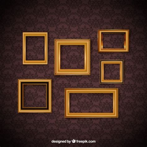 Zc Wallpaper Brown Square vintage frame set and decorative wallpaper vector free