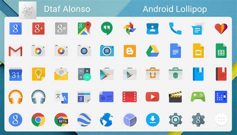 Android Lollipop 5.0 Flat icon pack ::: Cred… | Android ...
