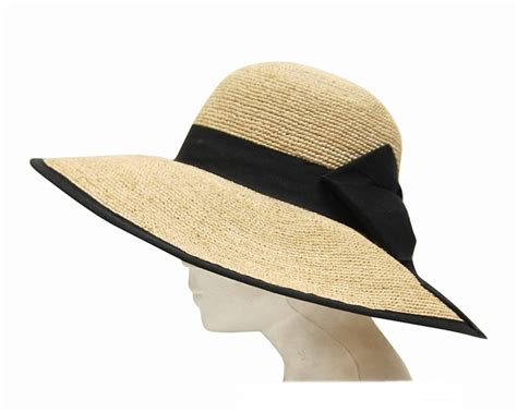 Summer Hat 620 raffia lshade sun hat with black bow