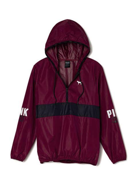 victorias secret pink anorak pullover hoodie windbreaker jacket maroon xs sm new windbreaker