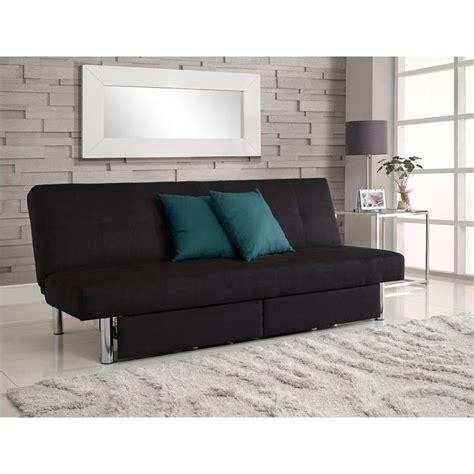 sola convertible sofa with storage in black microfiber