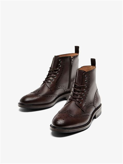 massimo dutti mens boots fall winter 2017 180 s brown leather brogue boots at