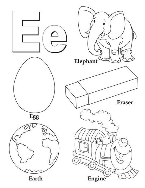 my a to z coloring book letter e coloring page download