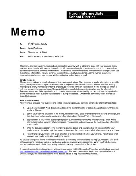 business memo examples inter office sample