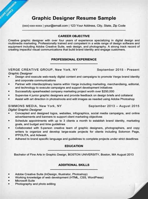resume exles for designers graphic design resume sle writing tips resume companion