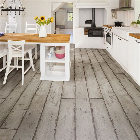 B Q Lino Flooring by Grey Washed Wood Effect Waterproof Luxury Vinyl Click