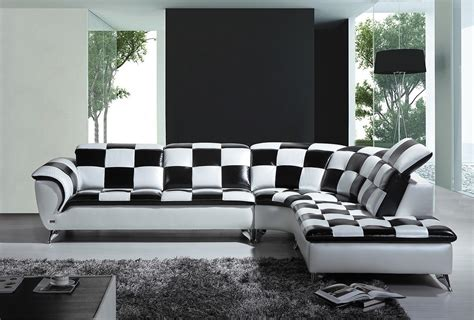 black and white sectional couch divani casa k8478 modern black and white checkered leather
