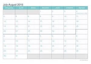 July and august 2015 printable calendar icalendar cc