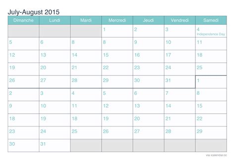 july and august 2015 printable calendar icalendars net