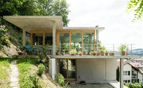 house on slope gian salis builds a house on a slope in southern germany