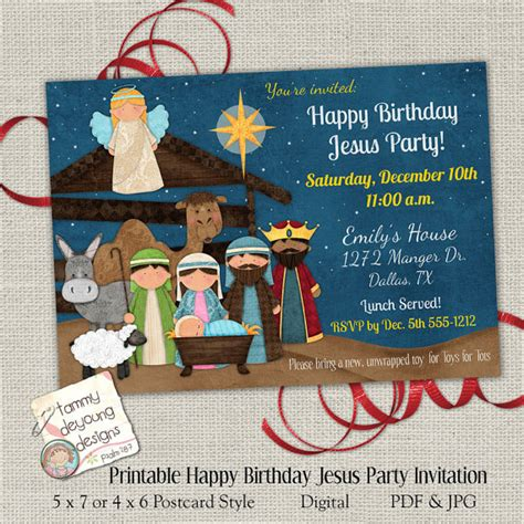 printable happy birthday jesus invitations christmas party invitation happy birthday jesus party invite