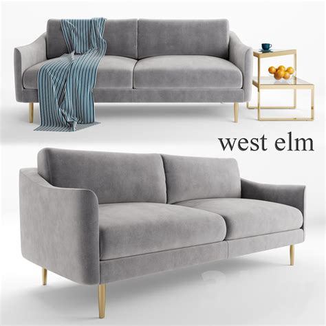 west elm sofa cover 3d models sofa sloane sofa and staggered plane side