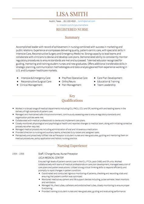 Rn Cv Template Nursing Cv Exles Templates Visualcv