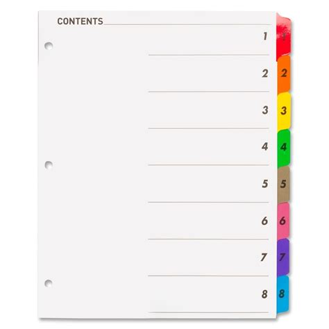 sparco templates sparco color coded indexing system 8 tab s printed 1