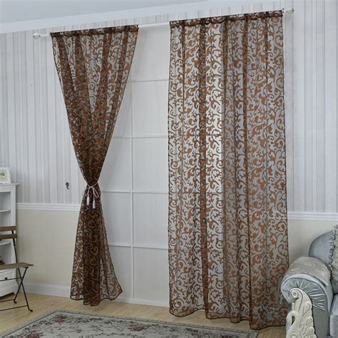 curtain scarf door window floral tulle sheer voile curtain drape panel