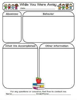 25 Best Ideas About Substitute Teacher Forms On Pinterest Substitute Teacher 3 Substitute Substitute Folder Template