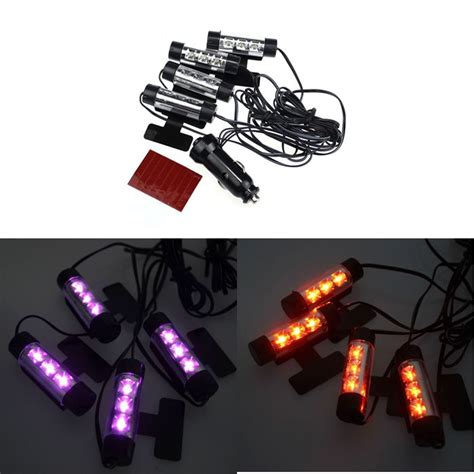 4 X 3led Car Charge Interior Accessories Atmosphere L Floor Decorat sell 12v led car charge 4 in1 atmosphere light l blue car interior decorative led motorcycle