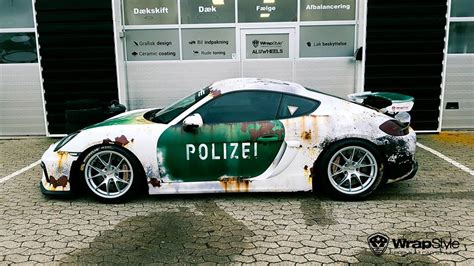Autofolie Interior by Rusty Polizei Wrap Porsche Cayman Gt4 Is How To Troll The