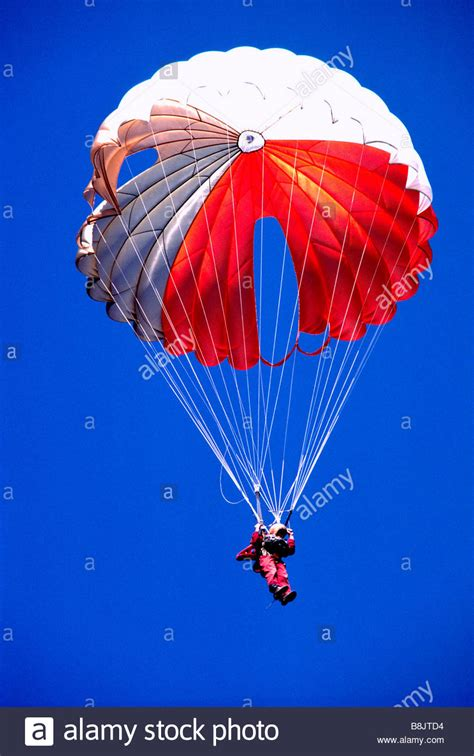 parachute dive one sky diver skydiving with a and white parachute in