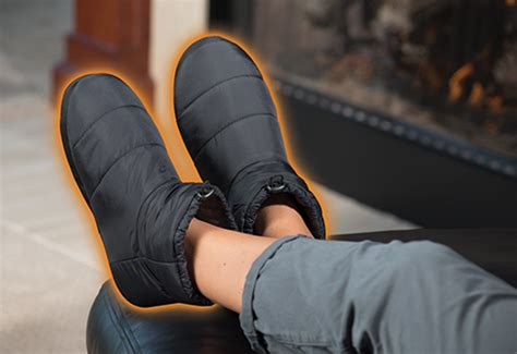 heated mens slippers heated indoor outdoor slippers sharper image