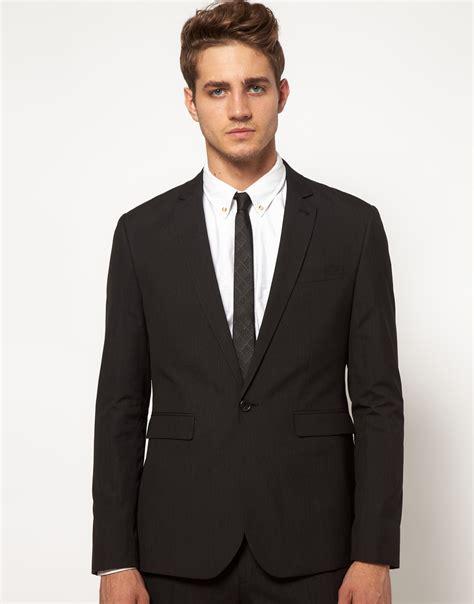 in suit asos slim fit suit jacket in black in black for lyst