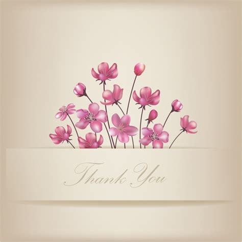 Thank You Card Template Flowers by Thank You Cards Free Vector 89 950 Free Vector