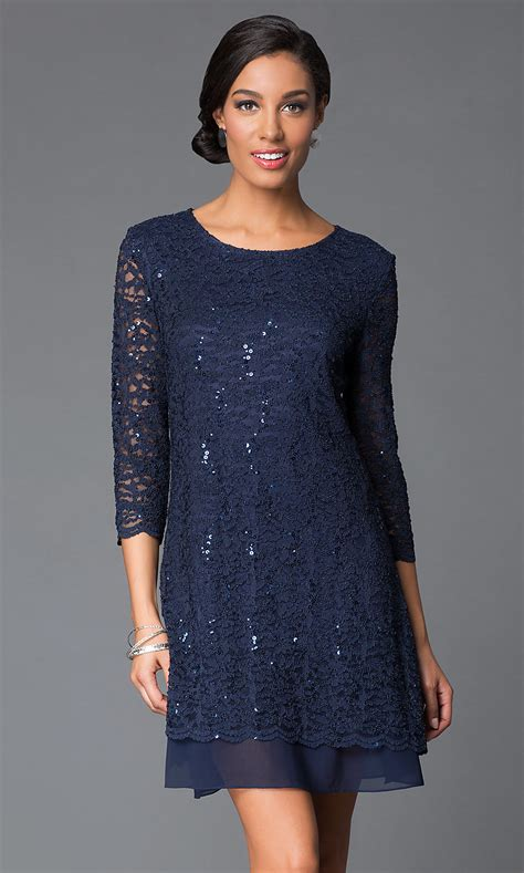 sequin lace shift dress  sleeves promgirl