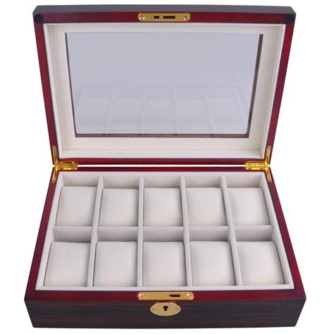 glass top display 10 slot ebony cherry wood watch display case glass top