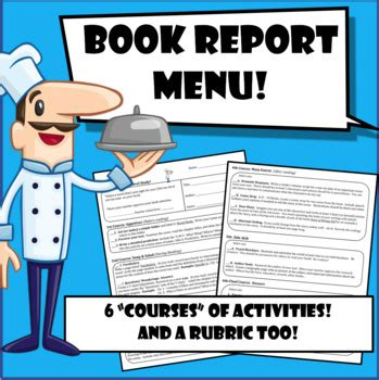 book report menu book report menu with rubric before during after