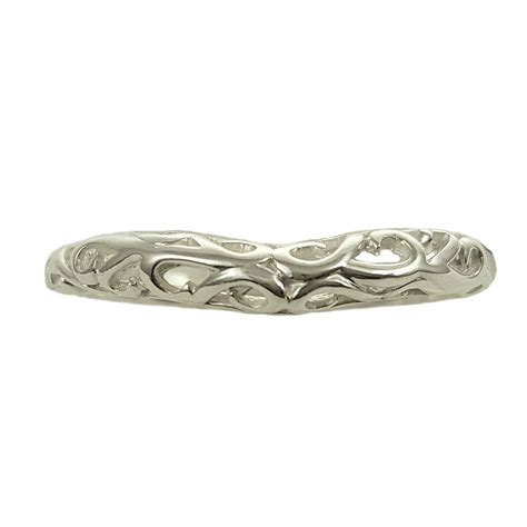 antique style mm wide filigree curved wedding band
